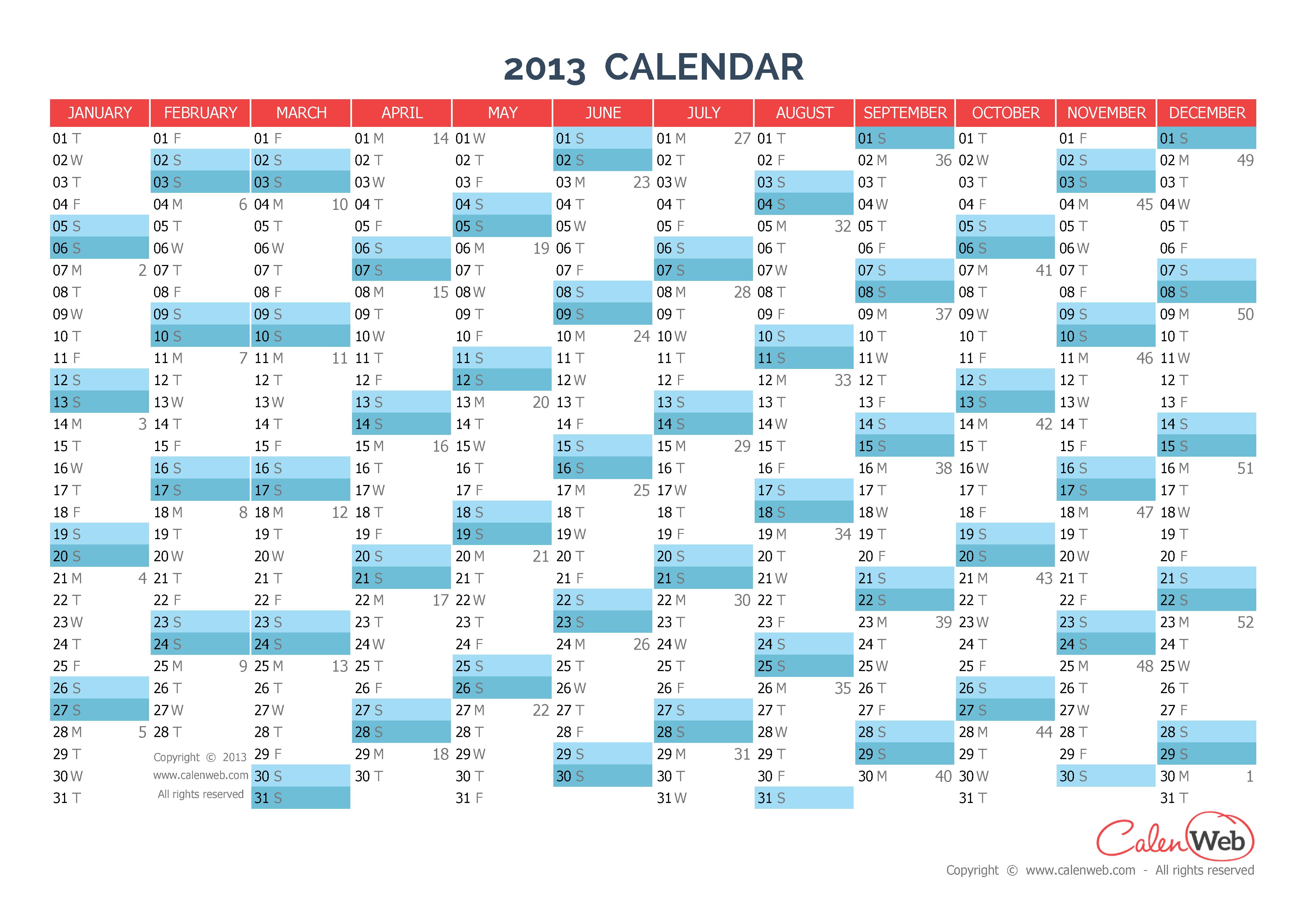 yearly calendar year 2013 yearly horizontal planning calenweb com