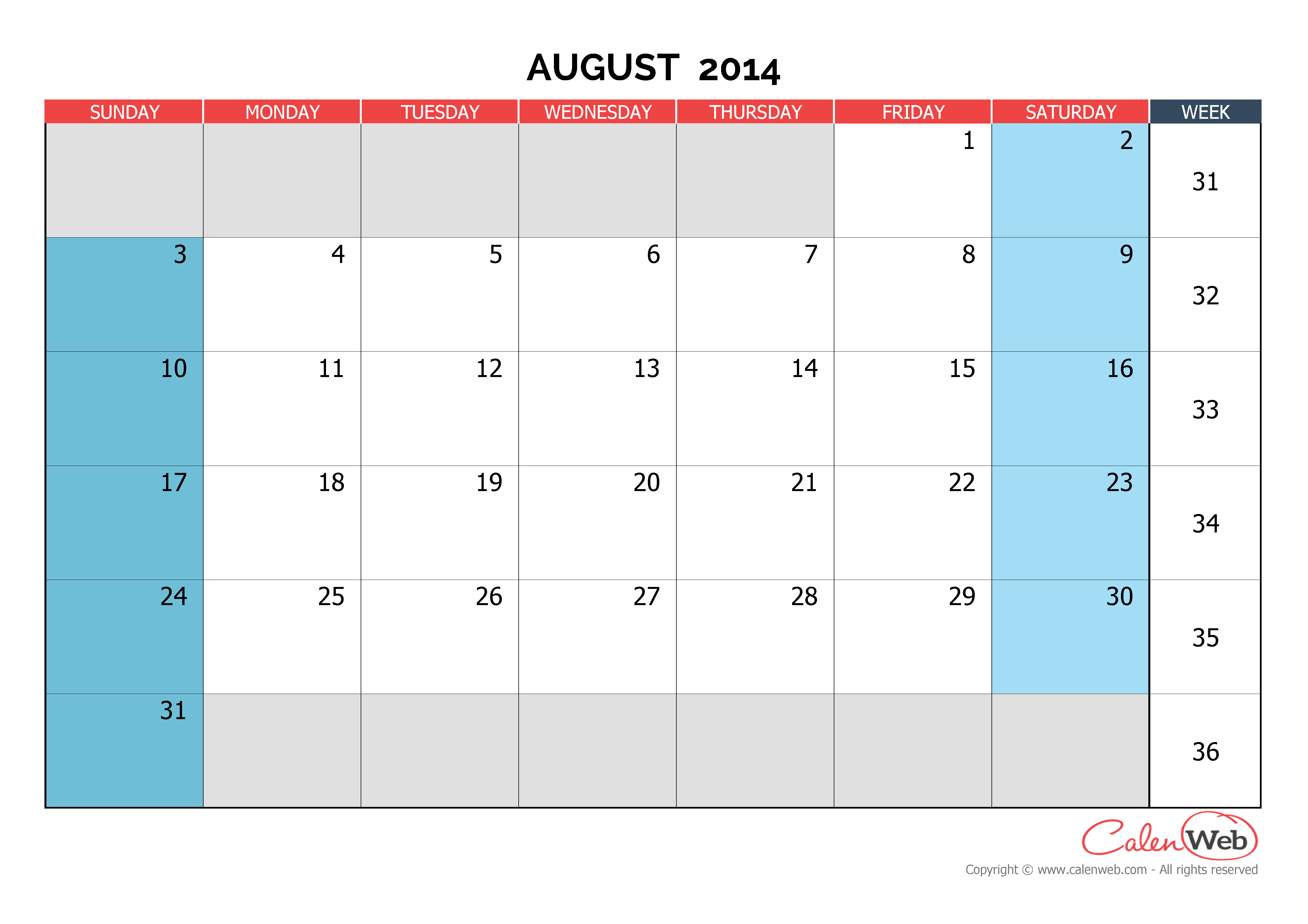 Monthly calendar - Month of August 2014 The week starts on ...