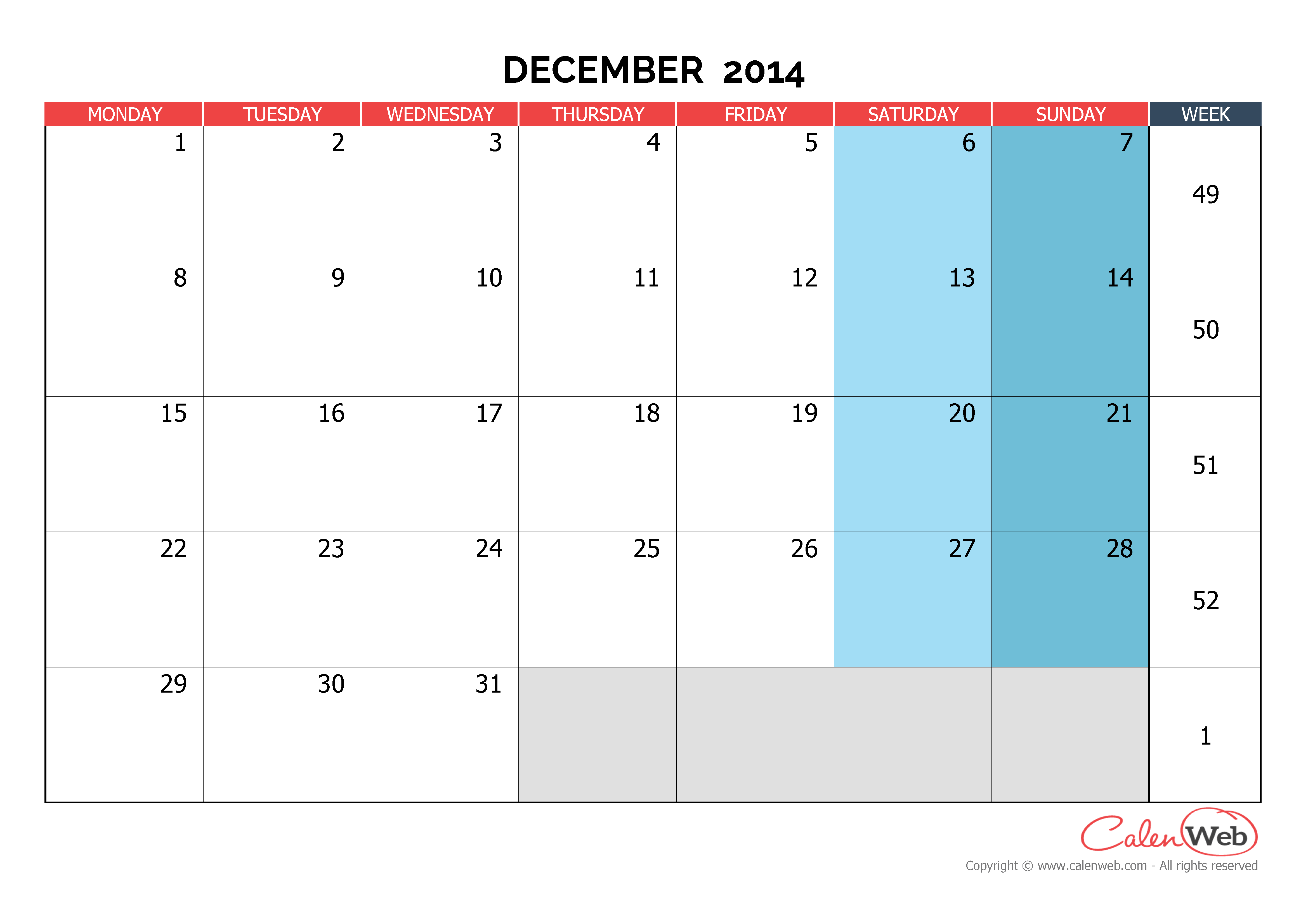 December Calendar 2014 : Monthly calendar month of december the week starts
