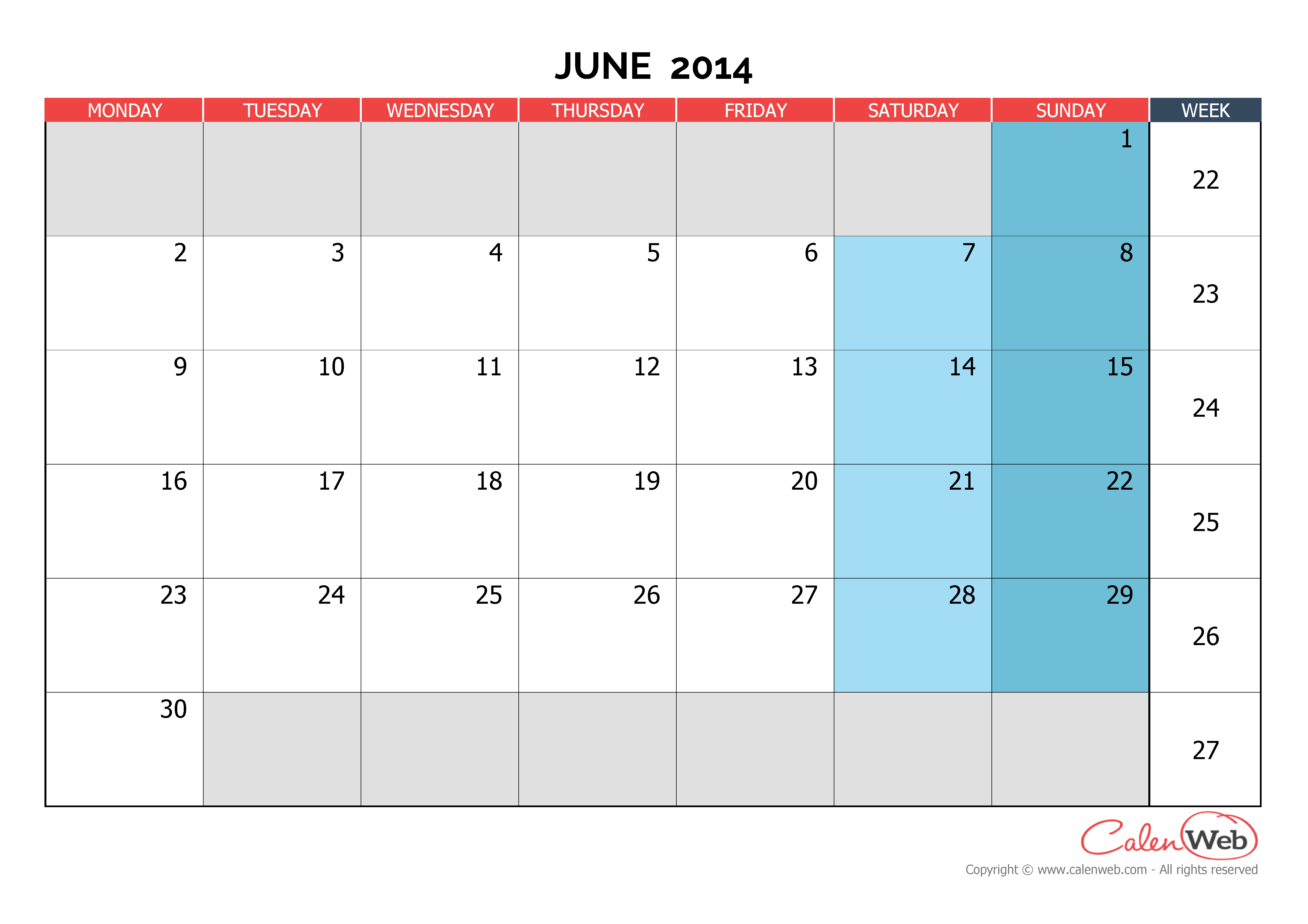 Calendar June 2014 : Monthly calendar month of june the week starts on