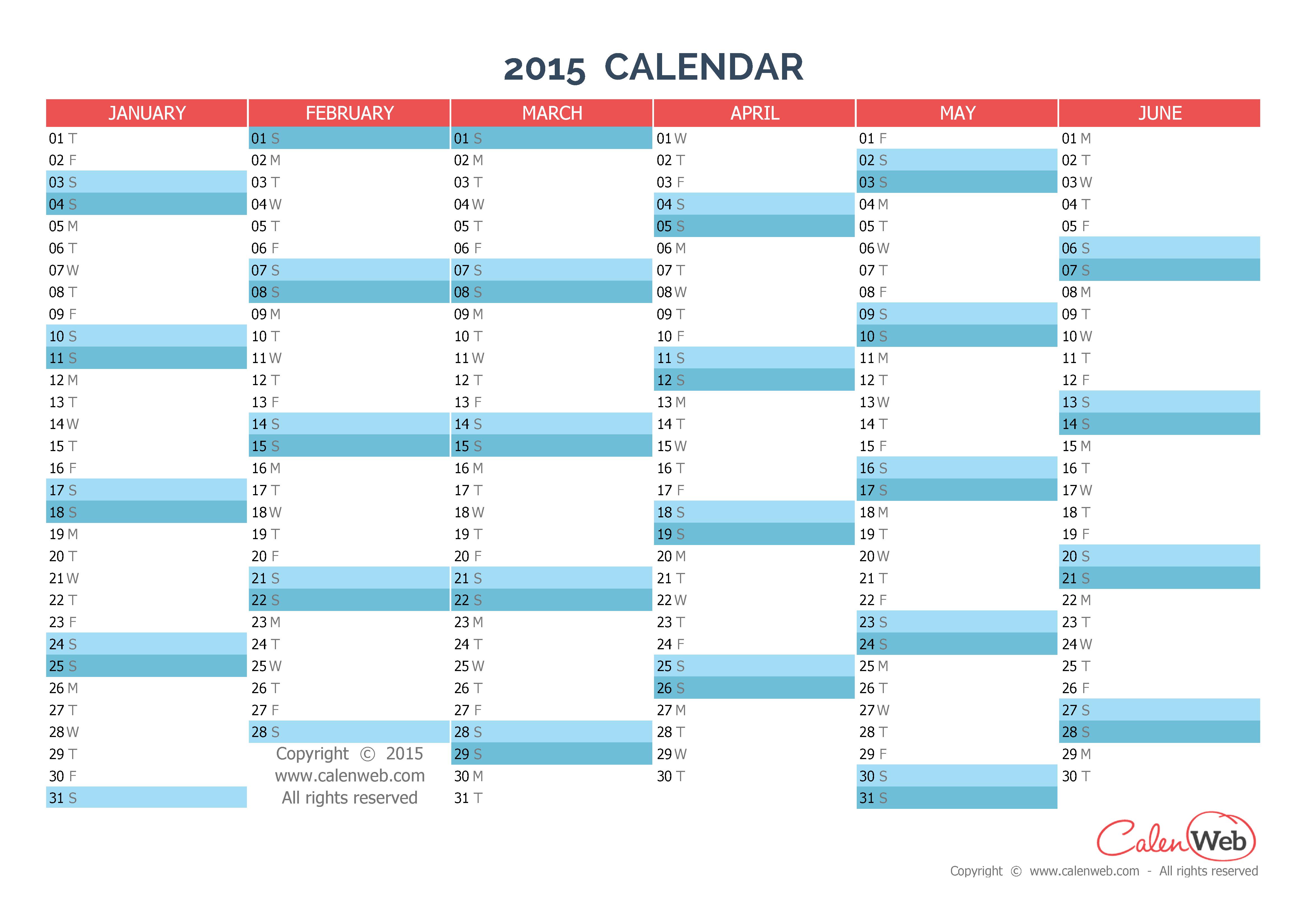 Semiannual calendar - Year 2015 Semiannual horizontal