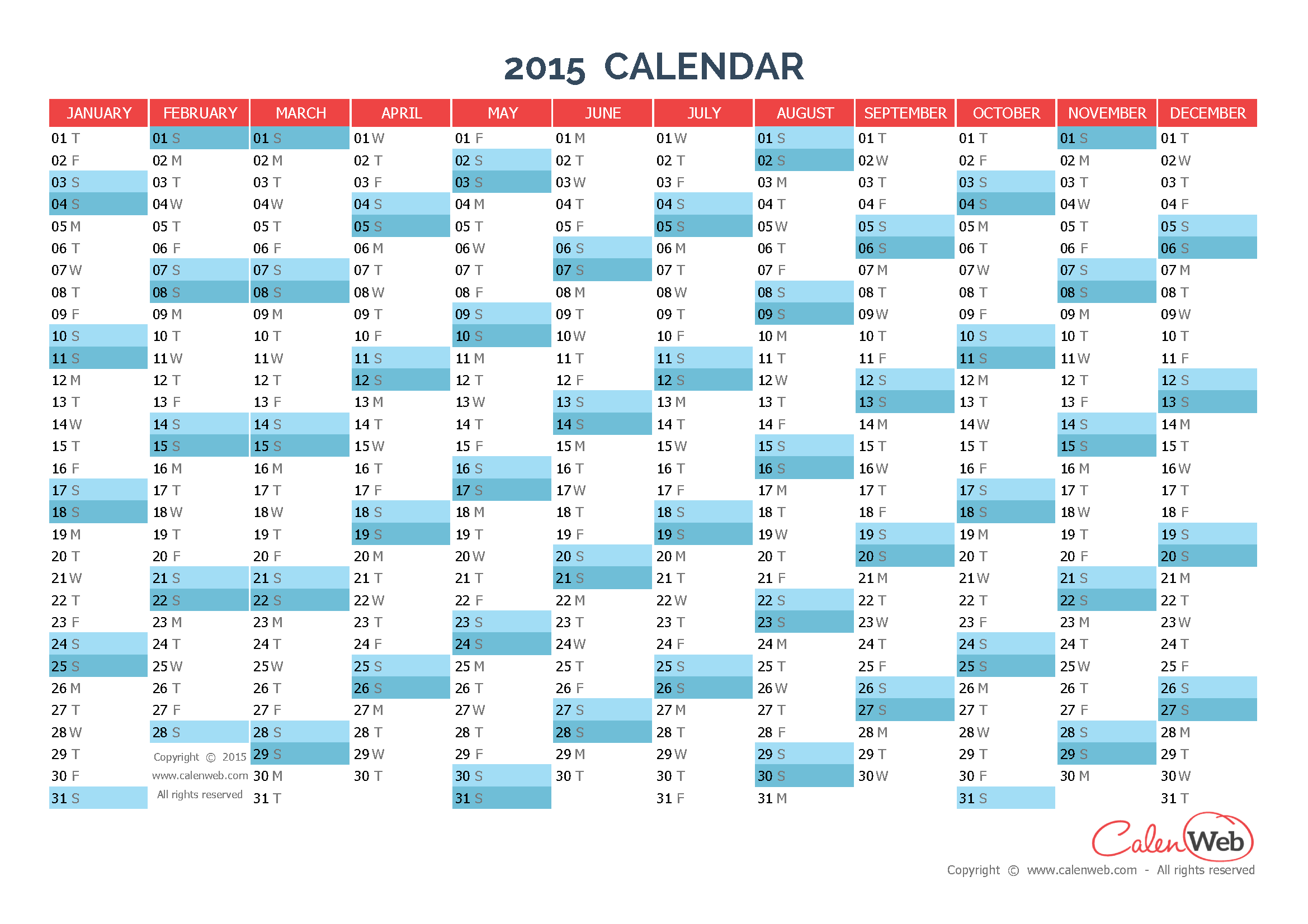 Yearly calendar – Year 2015 Yearly horizontal planning - Calenweb.com