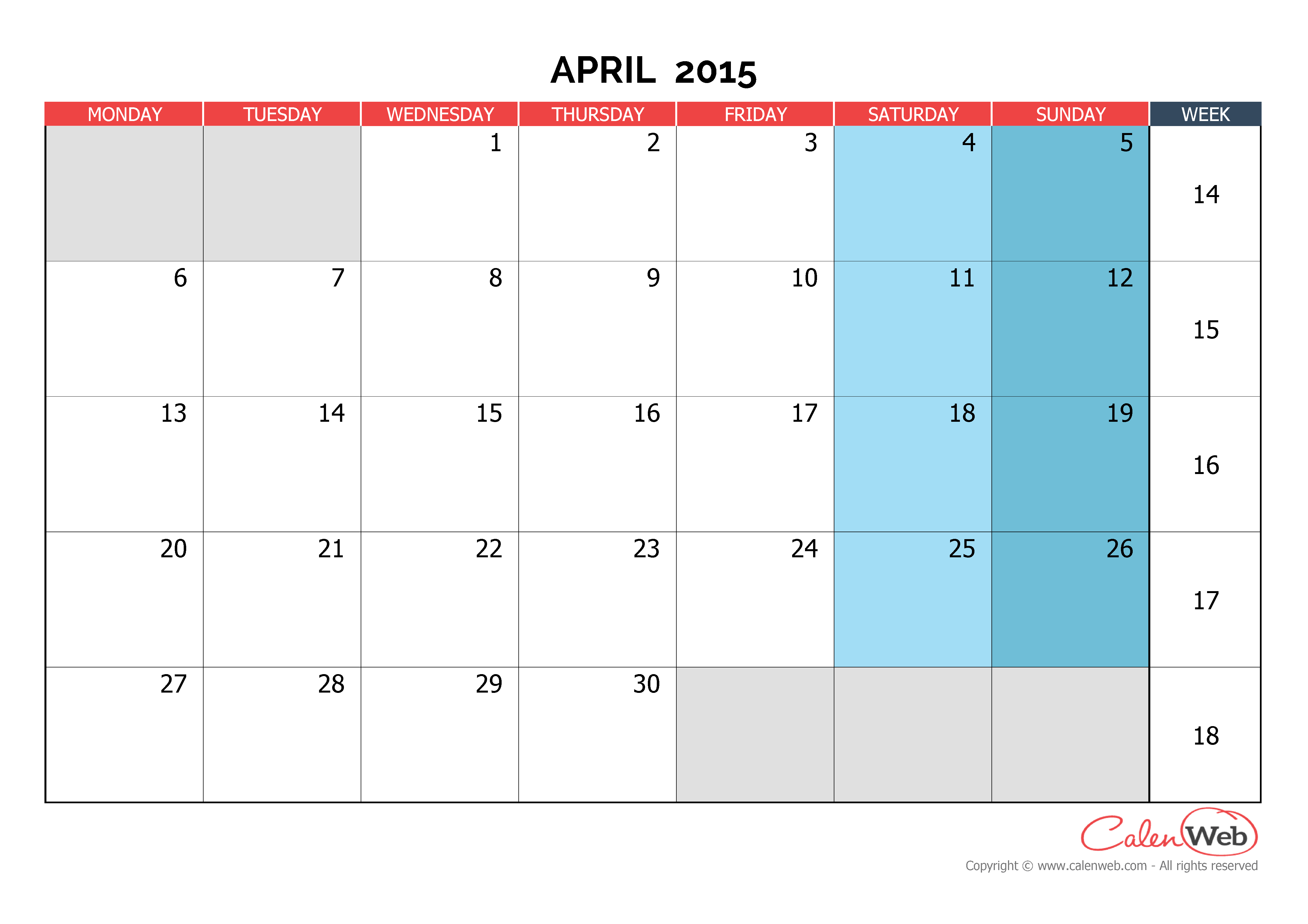 Monthly calendar - Month of April 2015 The week starts on ...