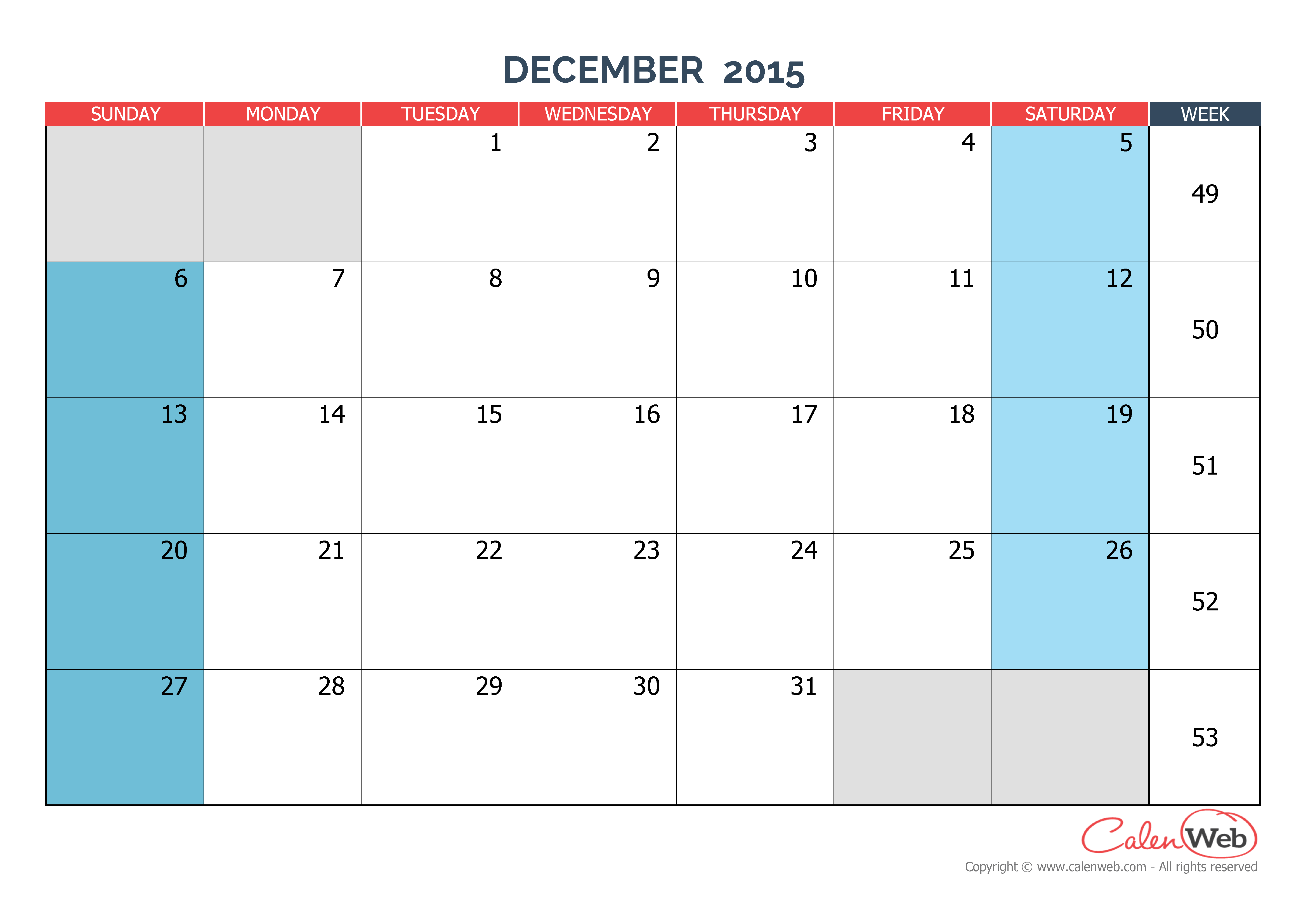 monthly calendar - month of december 2015 the week starts on sunday