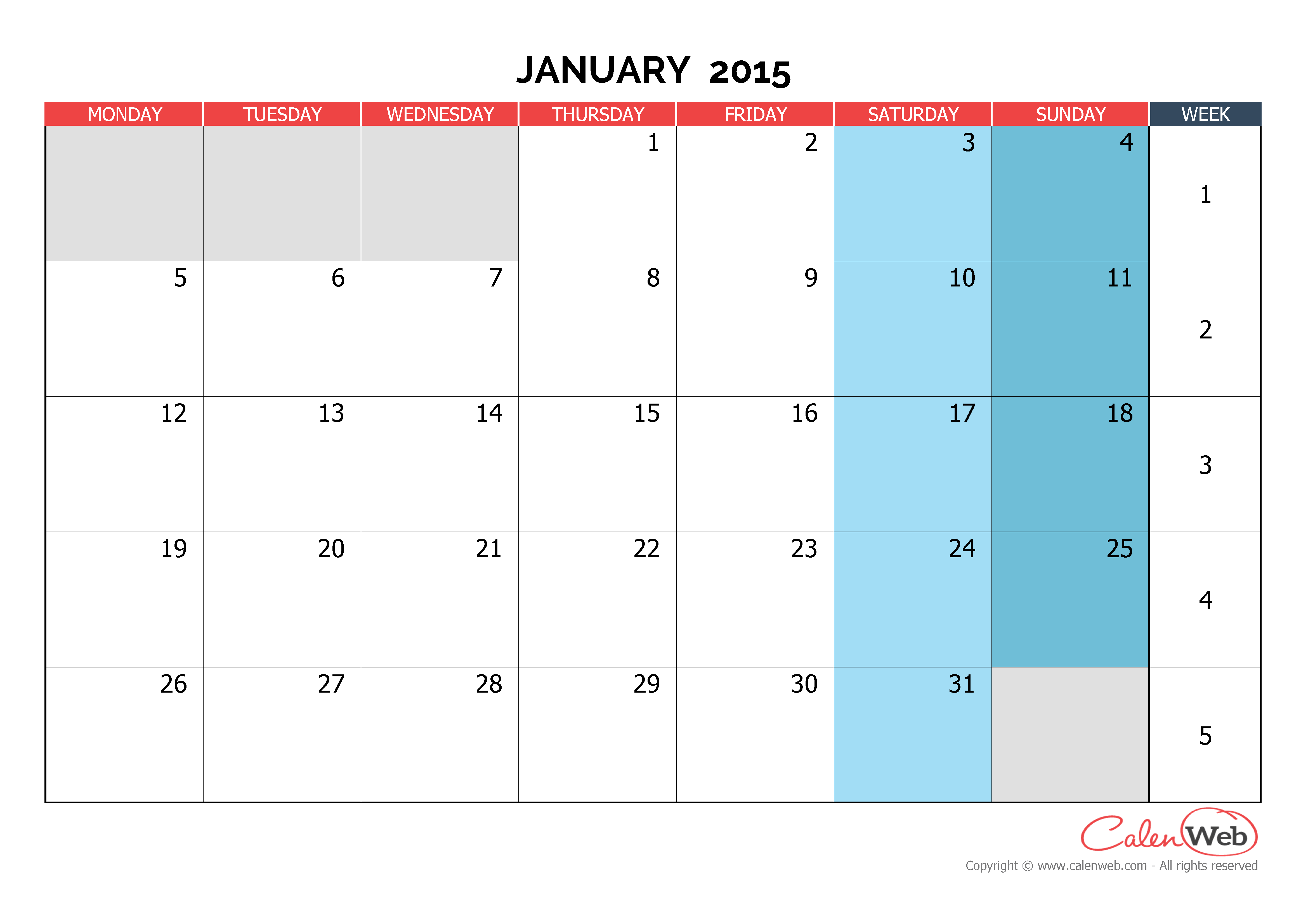 Monthly Calendar Jan : Monthly calendar month of january the week starts