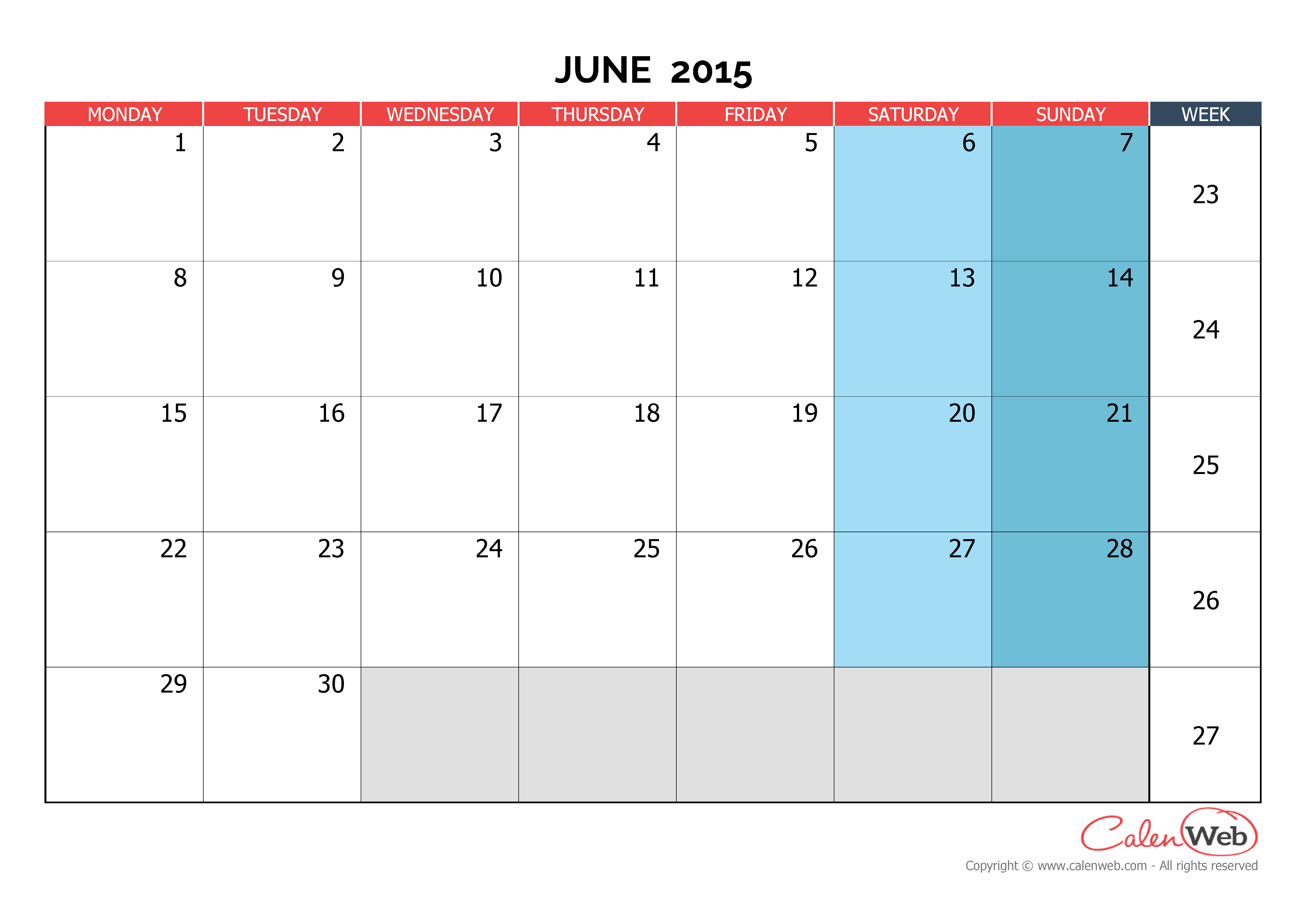 Monthly calendar - Month of June 2015 The week starts on ...