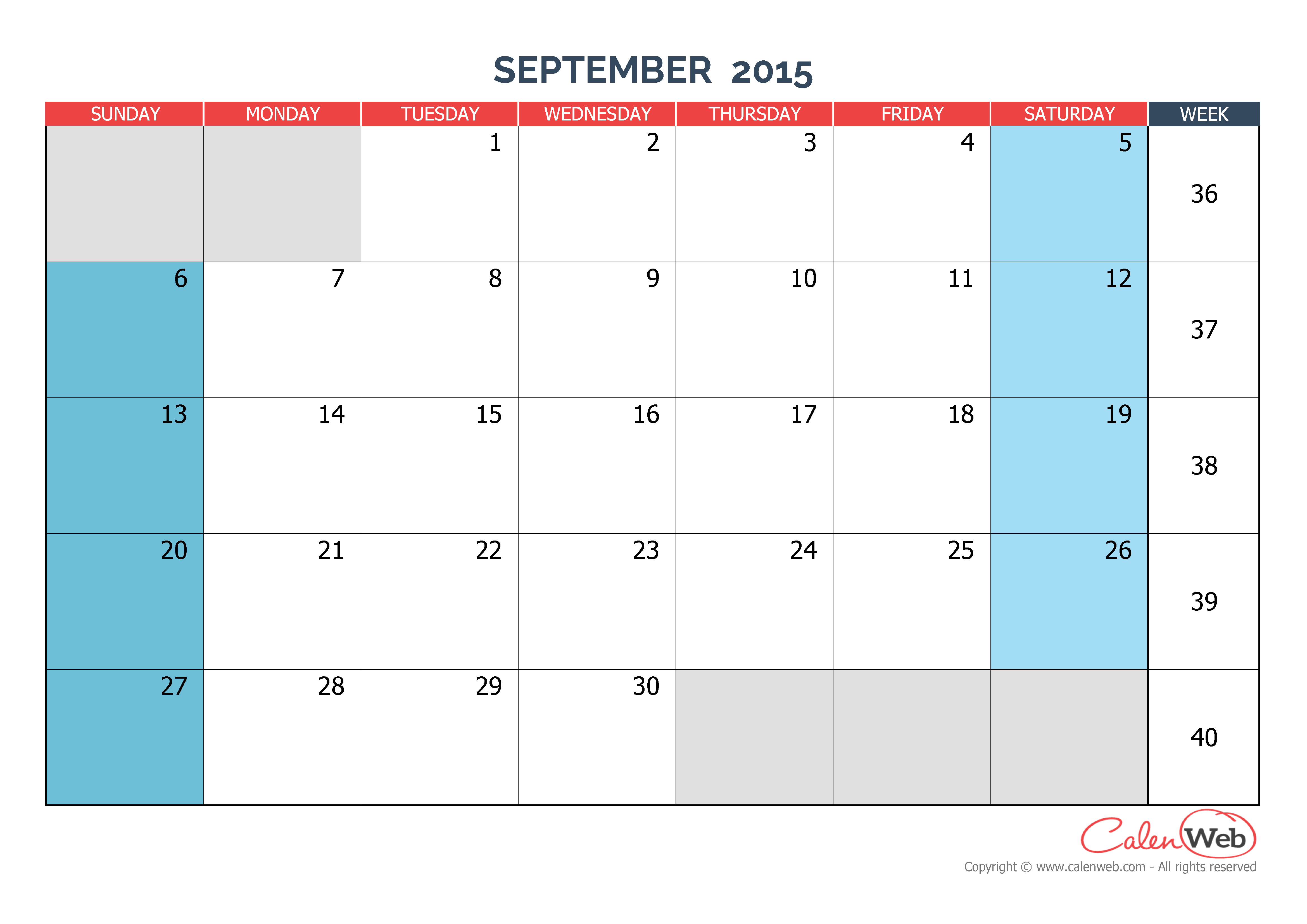monthly calendar month of september 2015 the week starts on sunday