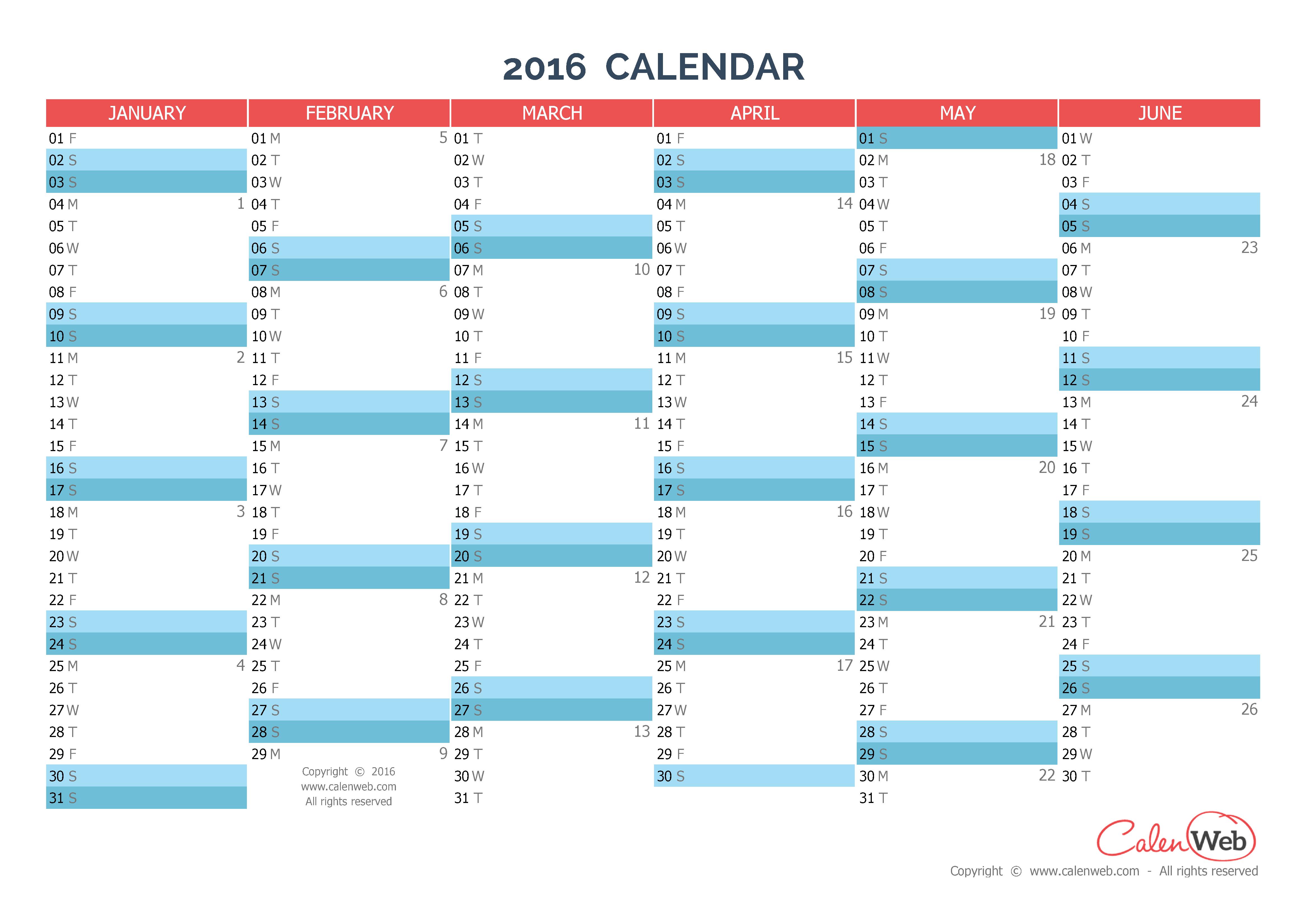 Year Calendar Horizontal : Semiannual calendar year horizontal