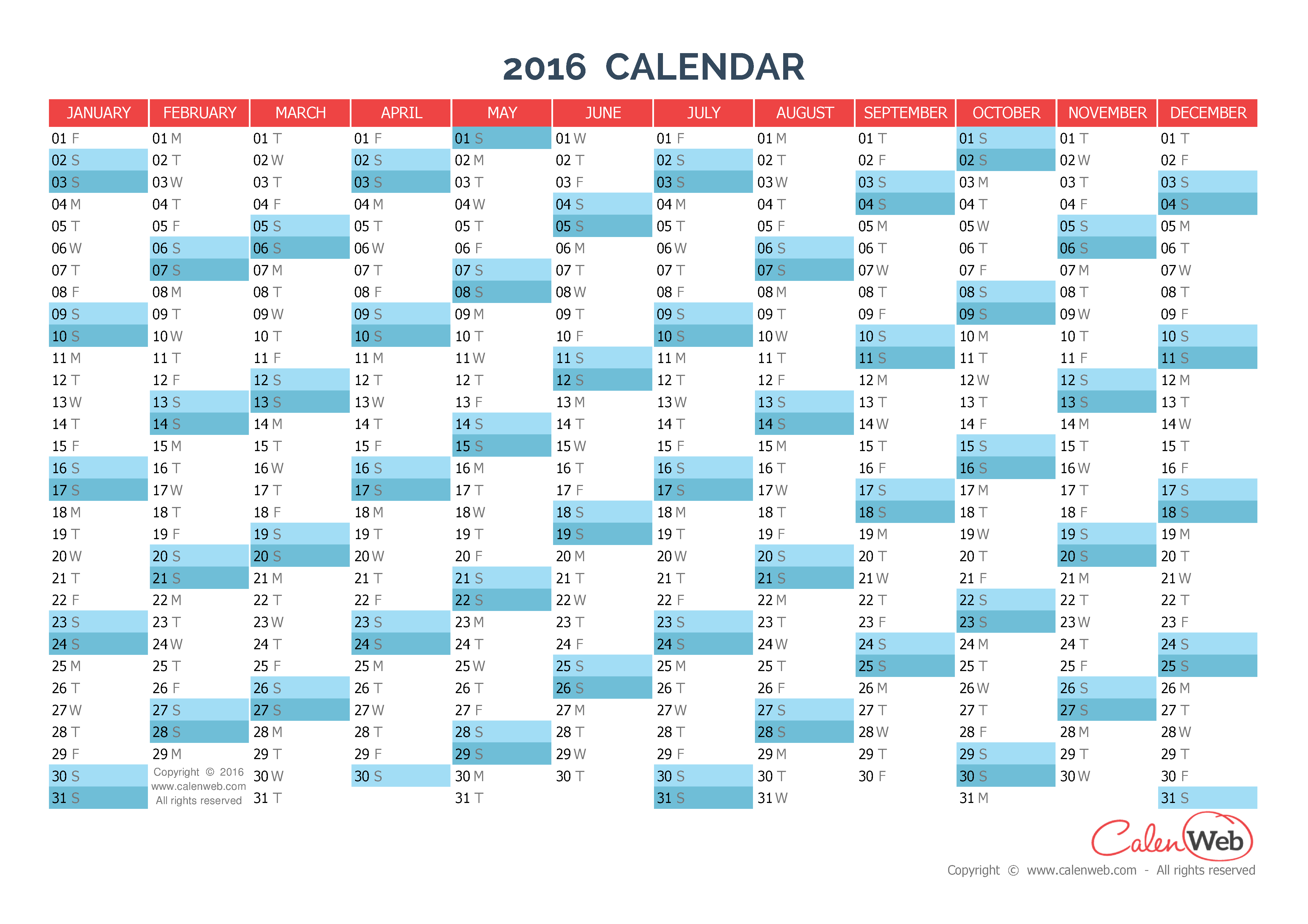 Yearly calendar – Year 2016 Yearly horizontal planning - Calenweb.com