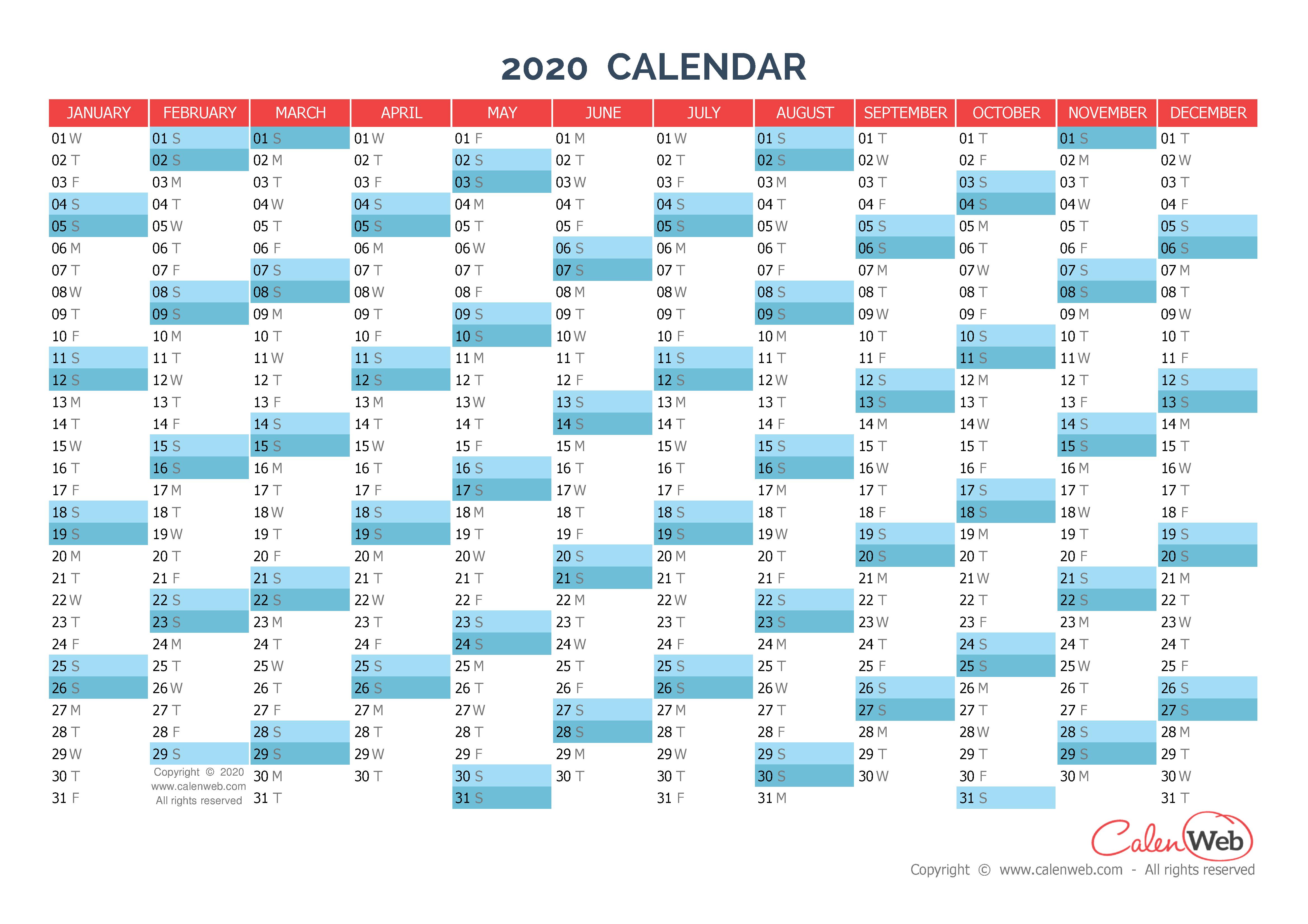 Calendar Year 2020.Yearly Calendar Year 2020 Yearly Horizontal Planning Calenweb Com