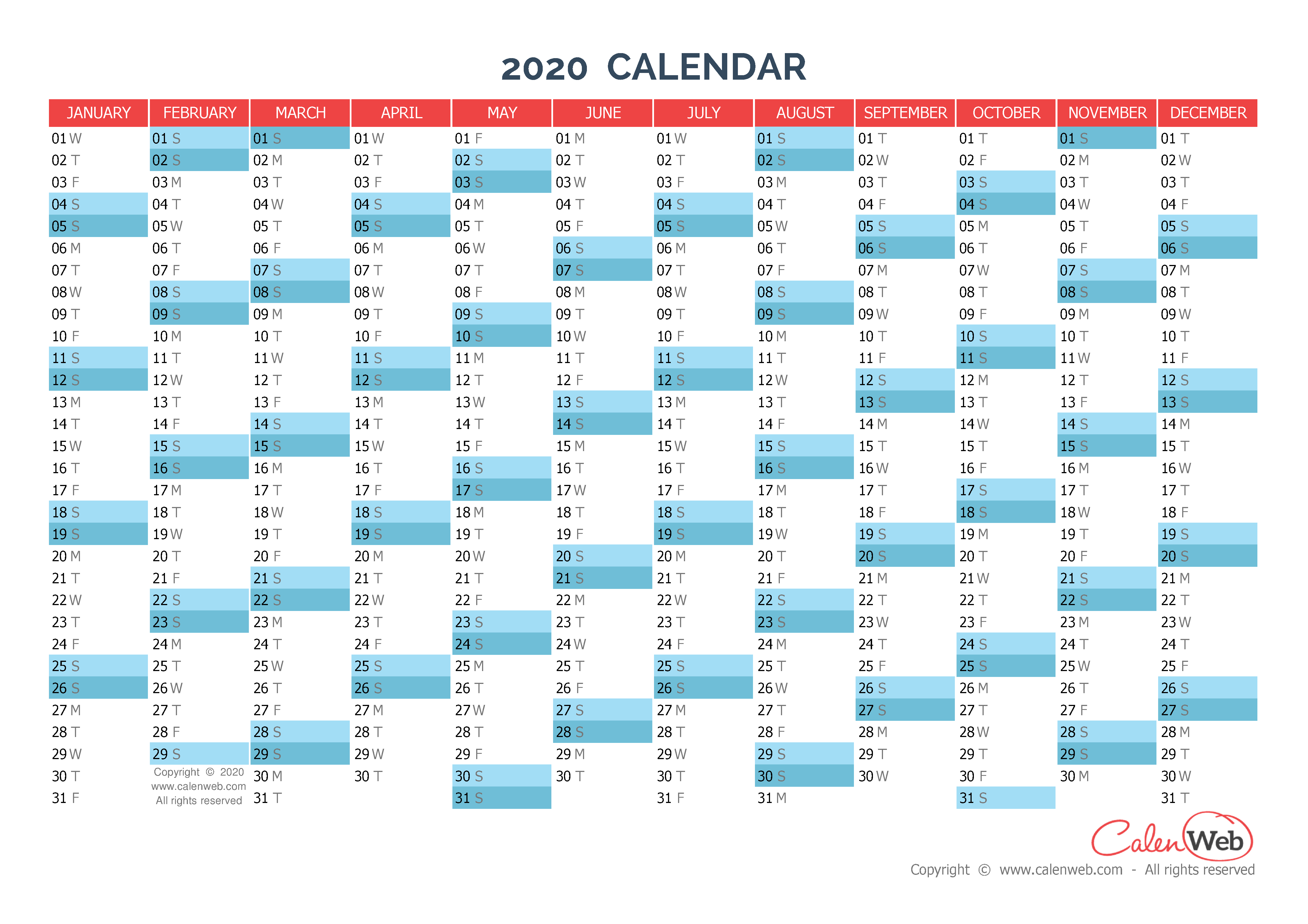 2020 Planner Calendar Yearly calendar – Year 2020 Yearly horizontal planning   Calenweb.com