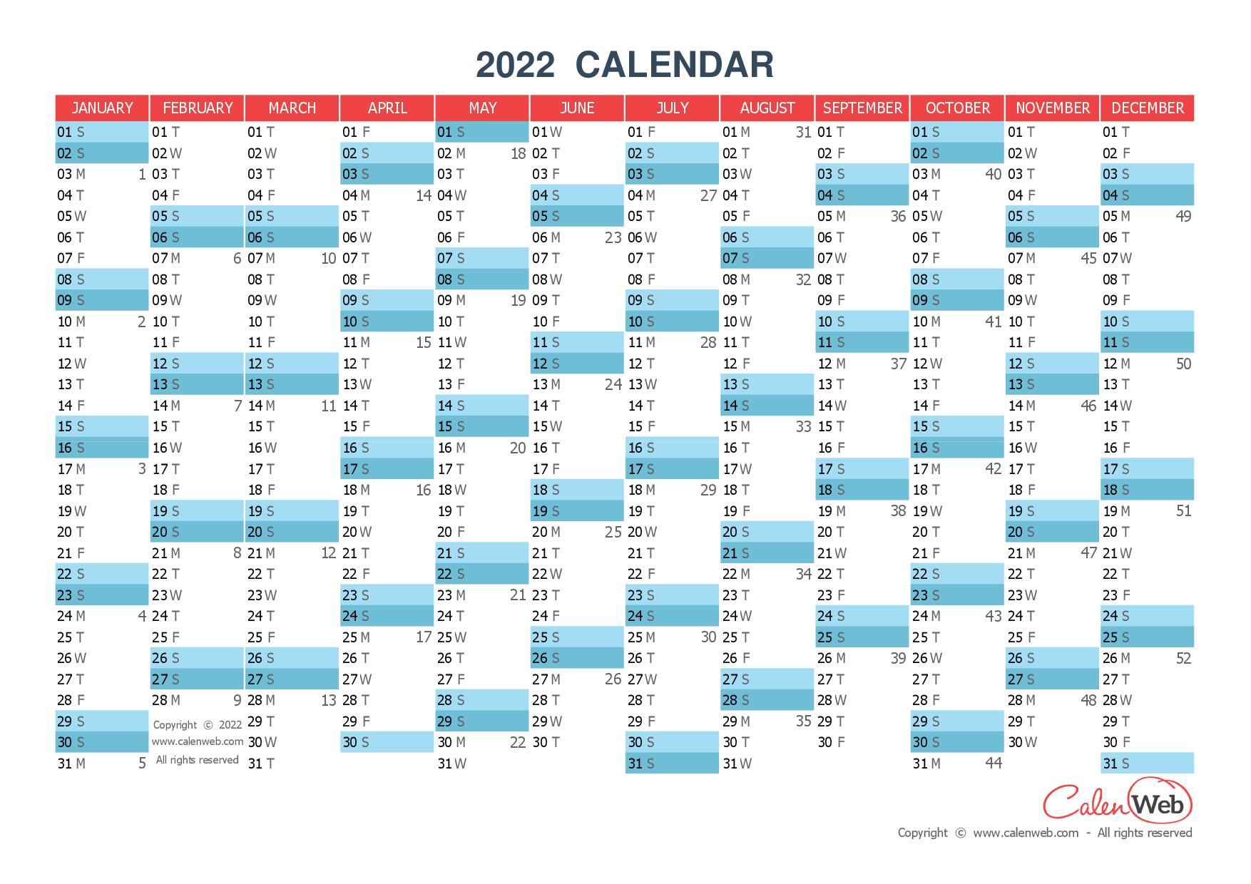 Calendrier 2022 Calenweb Yearly calendar – Year 2022 Yearly horizontal planning   Calenweb.com