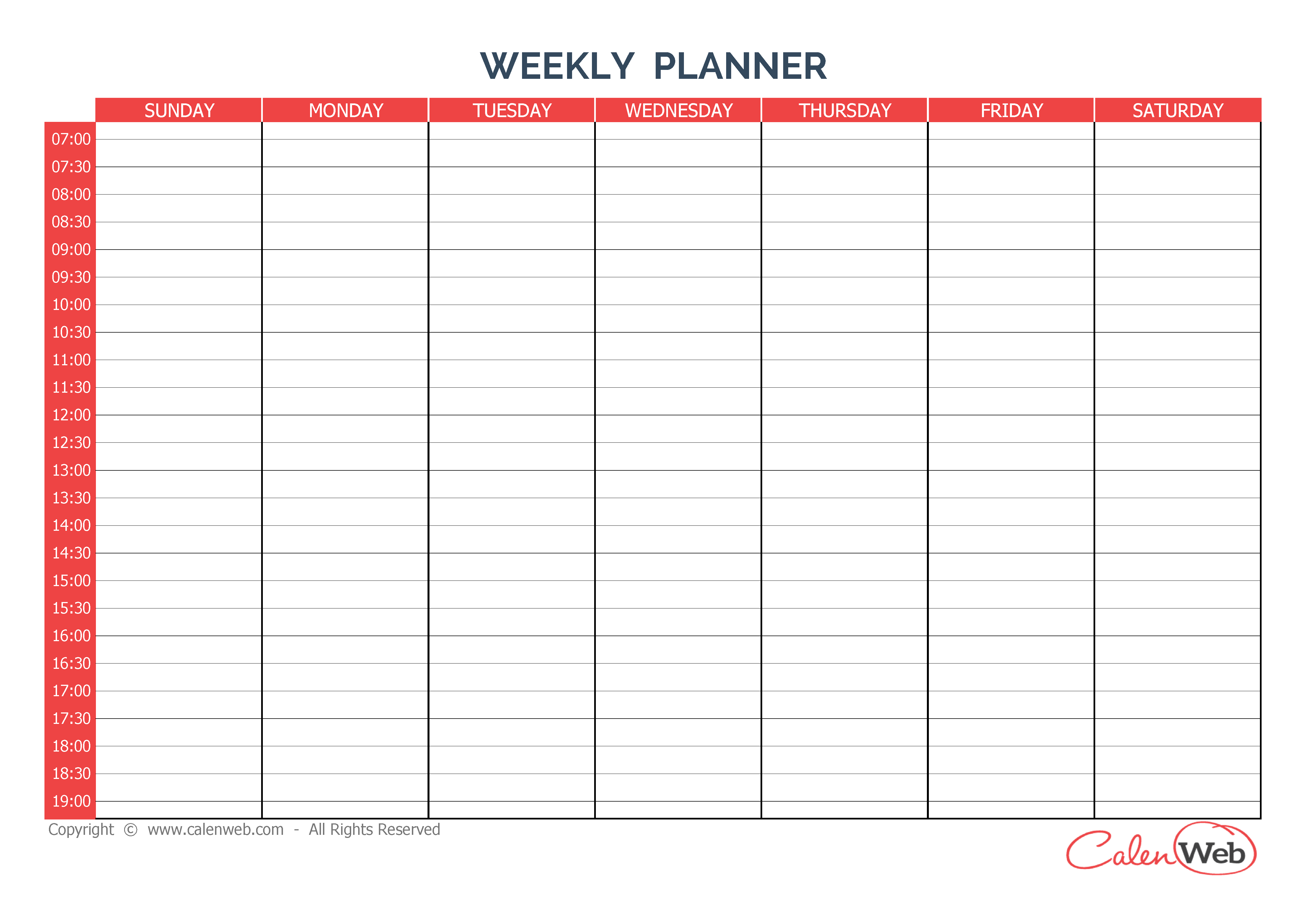 7 day planner template – 7 Day Planner Template