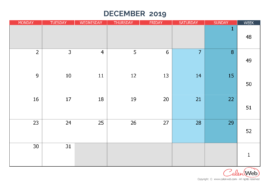 Monthly calendar – Month of December 2019