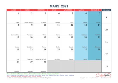Calendrier mensuel – Mois de mars 2021 Avec fêtes, jours fériés et vacances scolaires