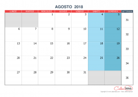 Calendario mensile – Mese di agosto 2018