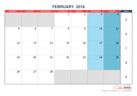 Monthly calendar – Month of February 2018