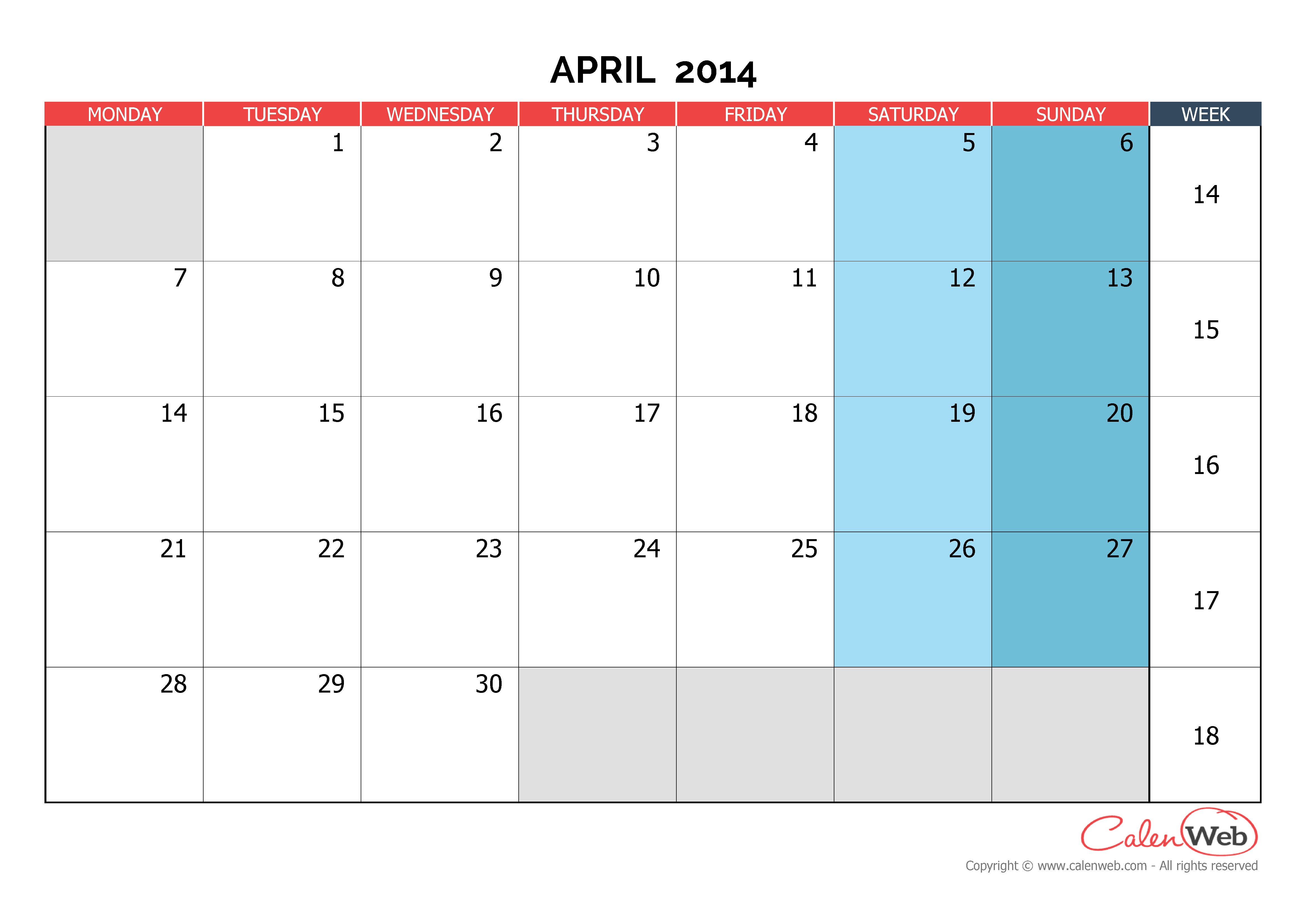 Monthly calendar - Month of April 2014 The week starts on ...