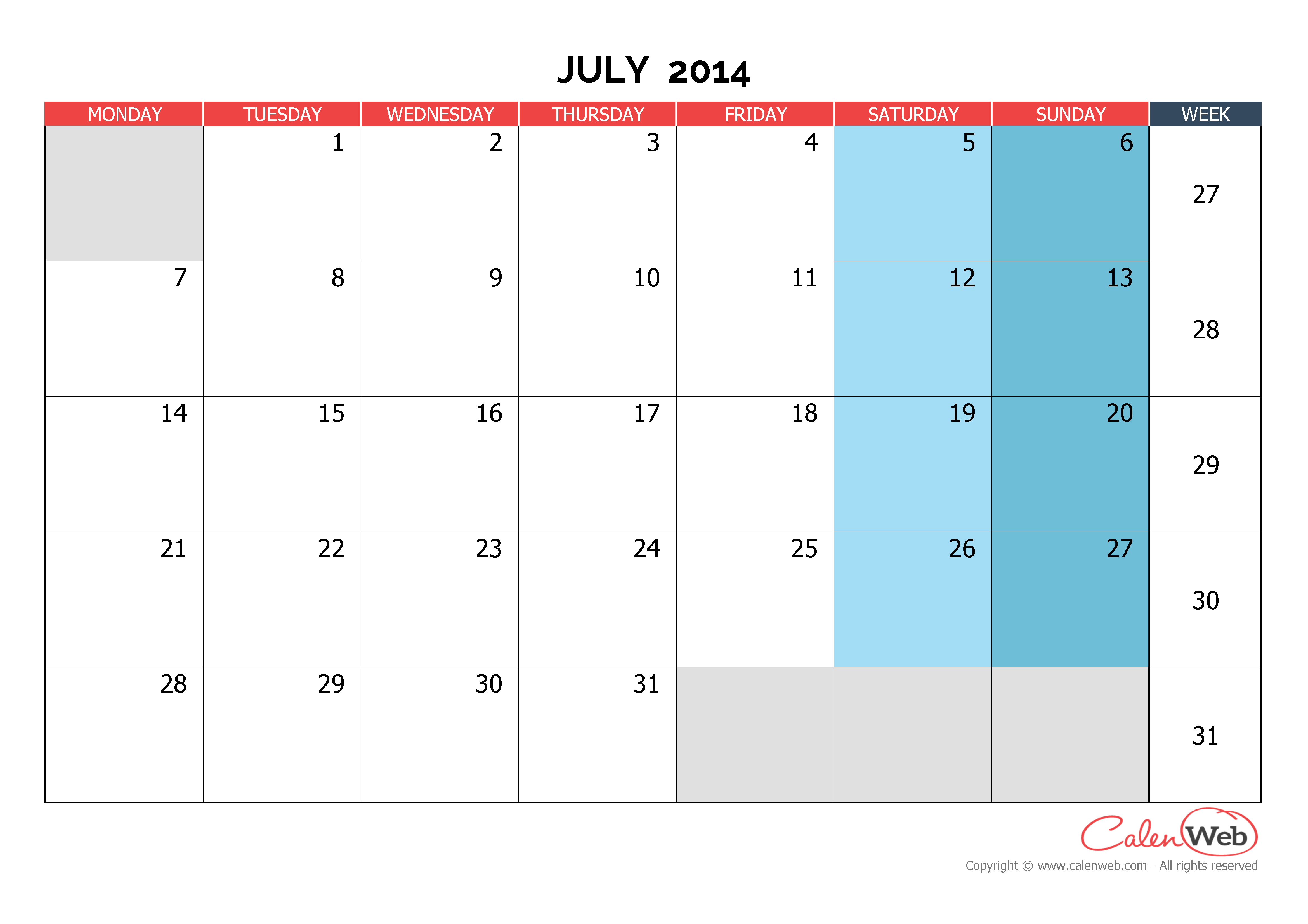 Monthly calendar - Month of July 2014 The week starts on ...
