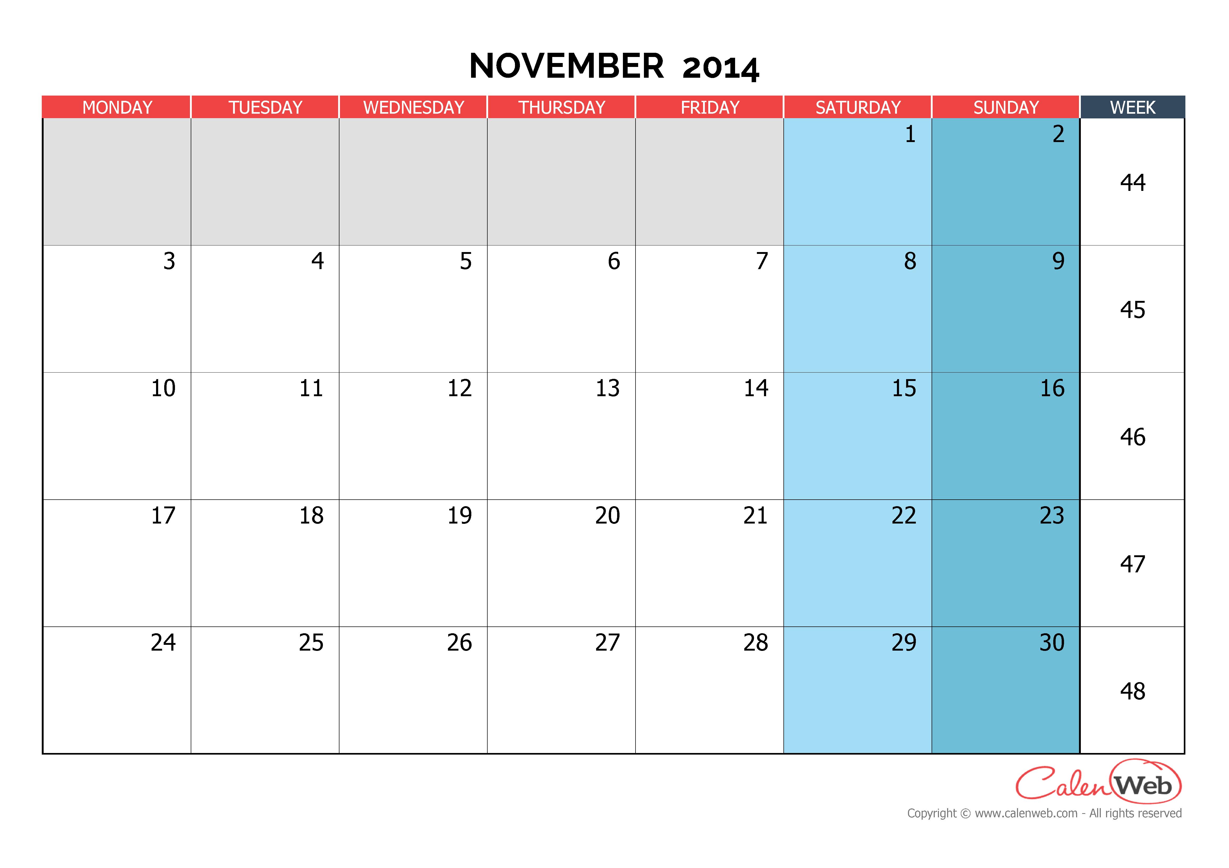 Monthly Calendar Planner November : Monthly calendar month of november the week starts