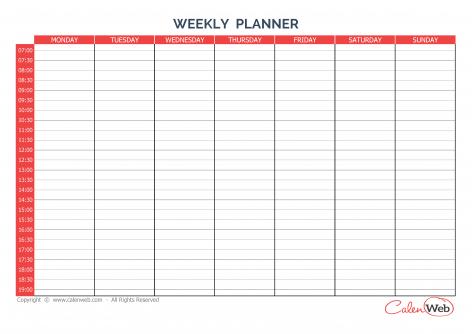 week daily planner