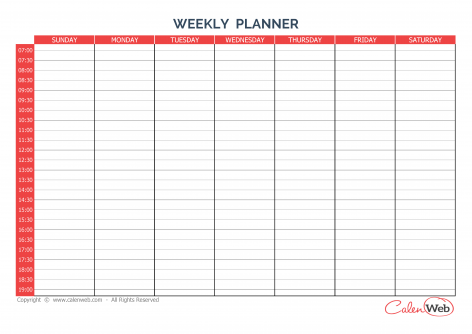 Weekly planner 7 days – First day: Sunday A week of 7 days - First day: Sunday