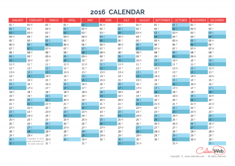 Yearly calendar – Year 2016 Yearly horizontal planning - Calenweb ...