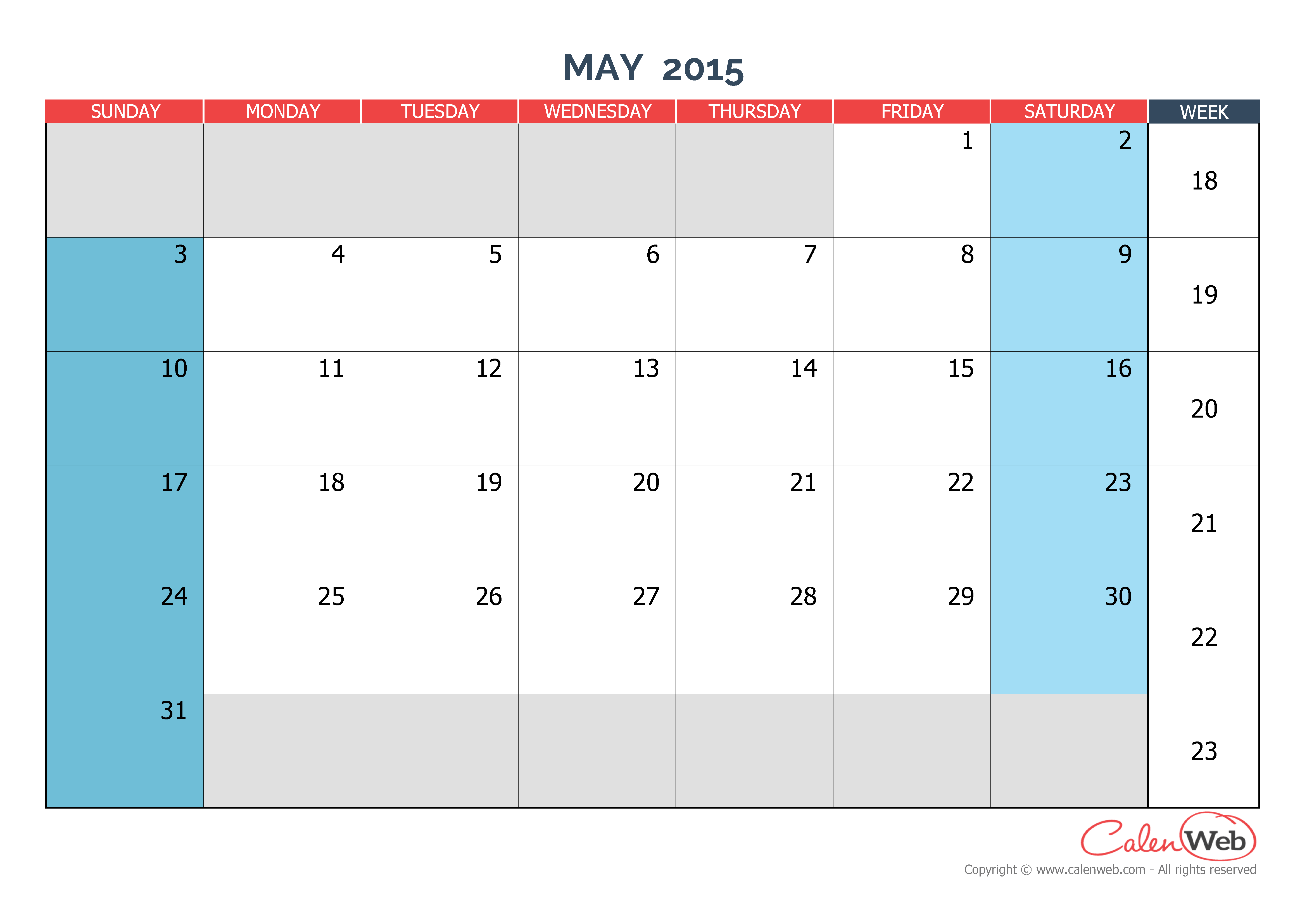 Month Of May Calendar : Monthly calendar month of may the week starts on