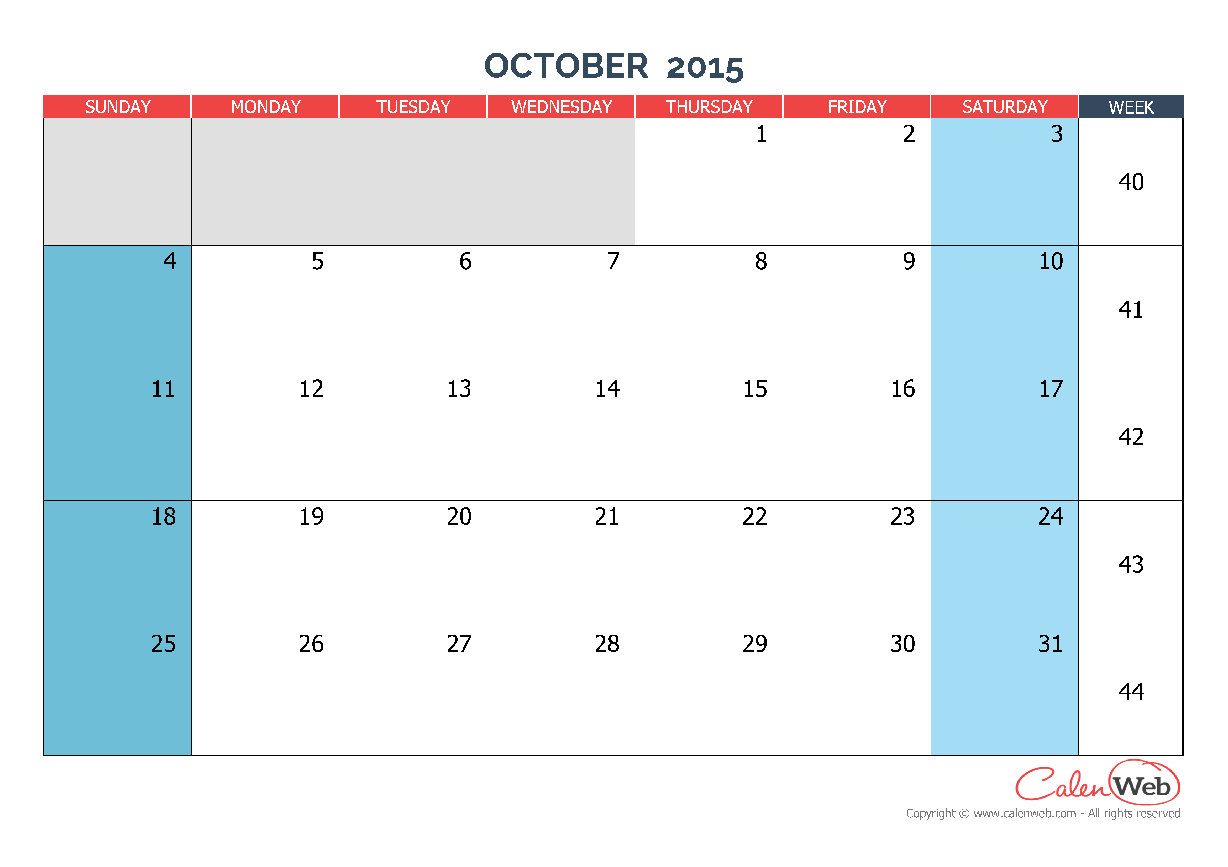 Calendar Monthly October : Monthly calendar month of october the week starts