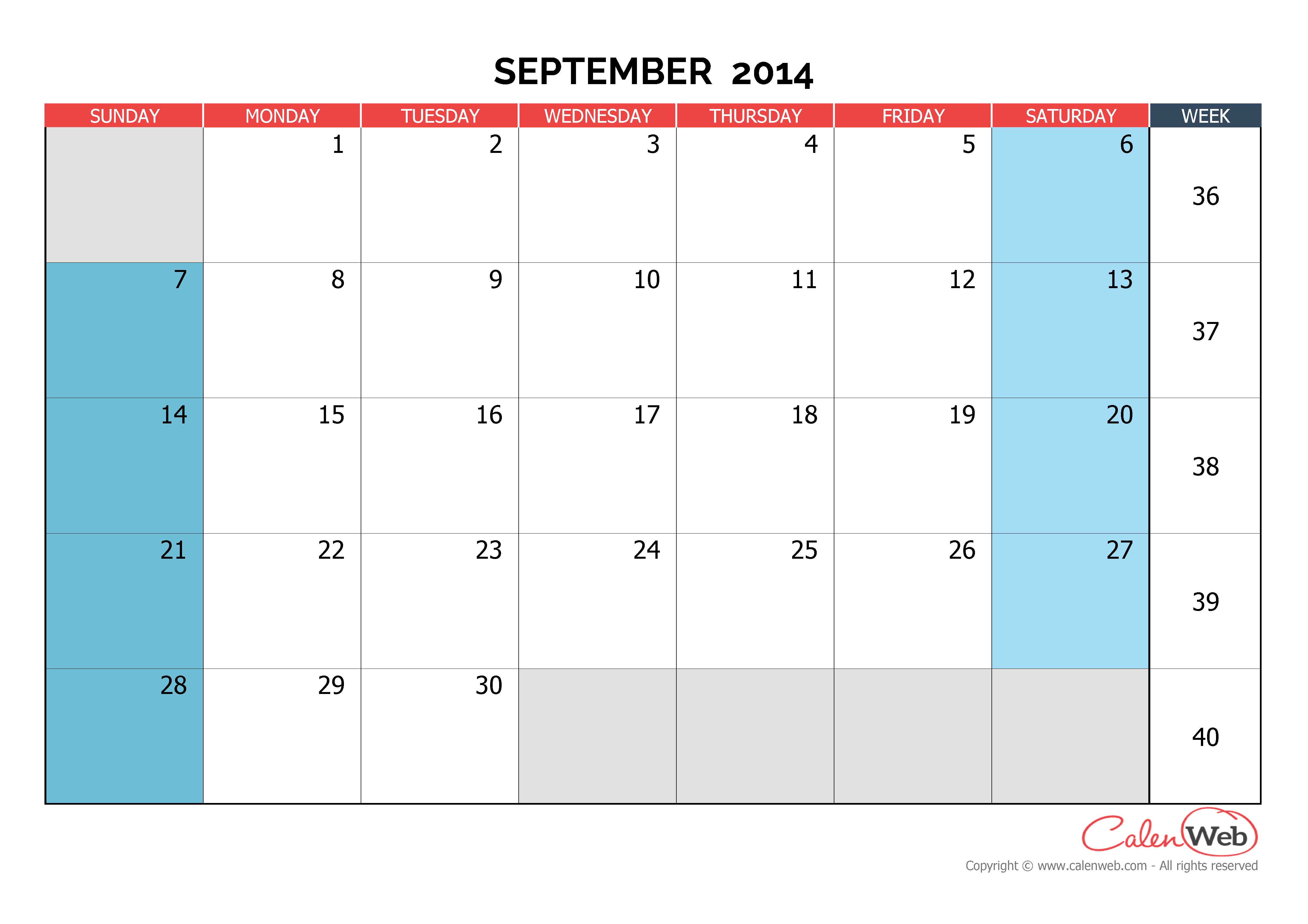 Calendar Monthly September : Monthly calendar month of september the week starts