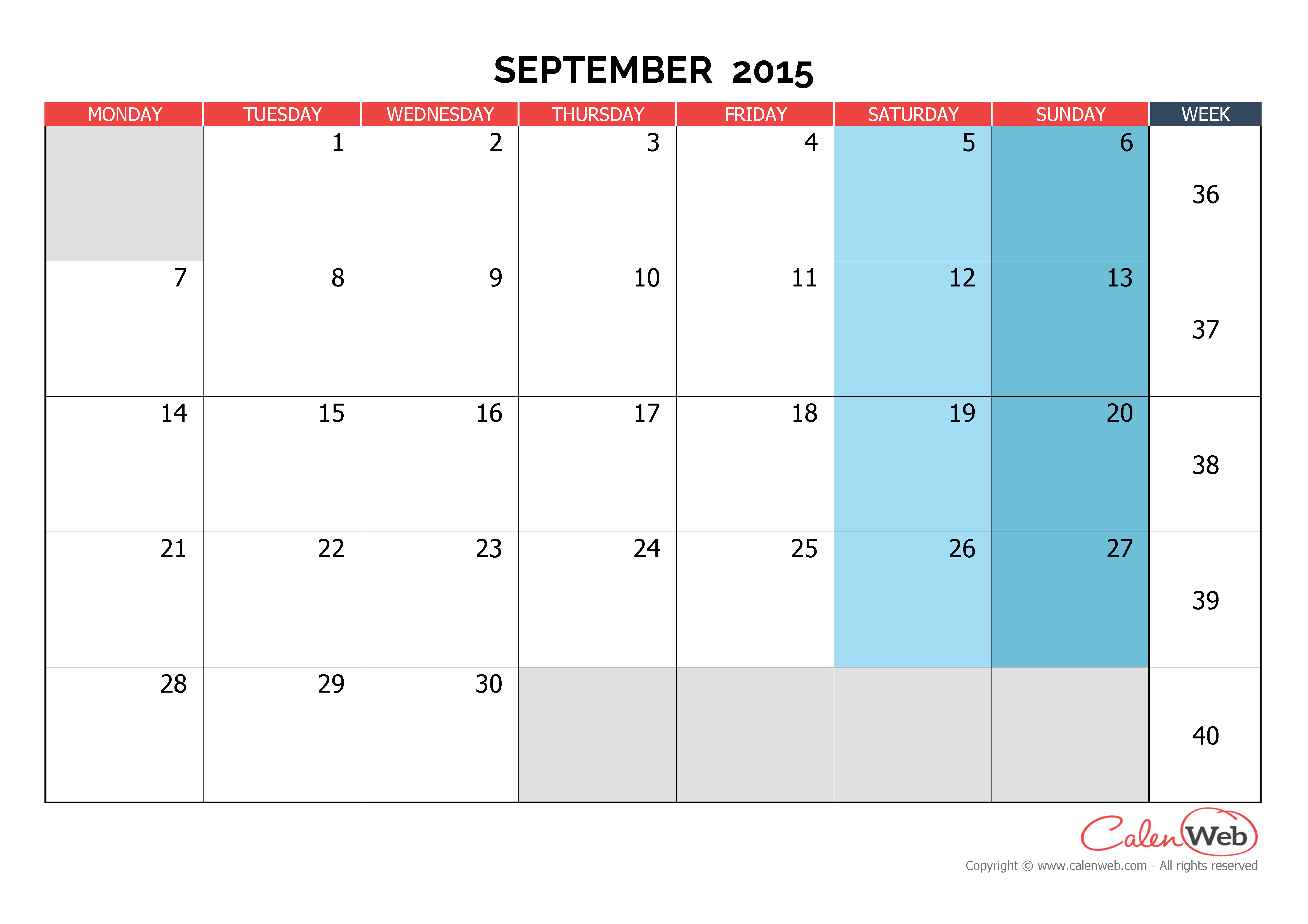 Monthly calendar - Month of September 2015 The week starts on Monday ...