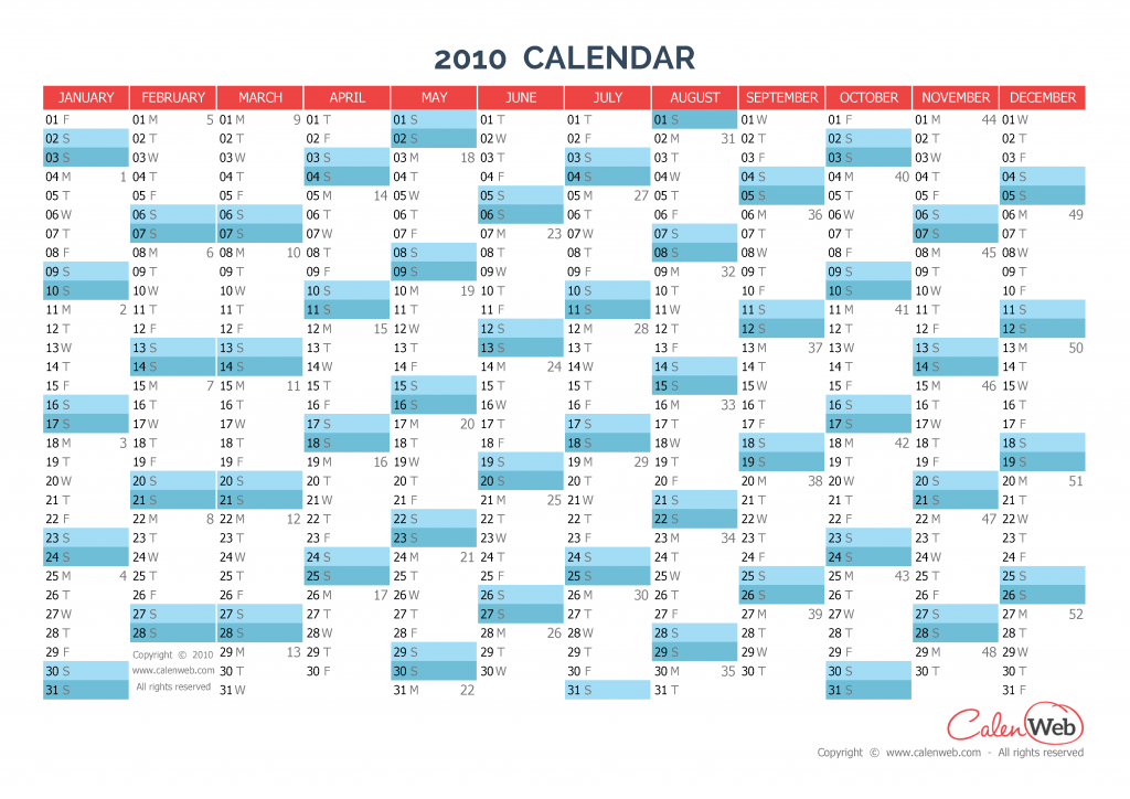 yearly calendar - year 2010 yearly horizontal planning