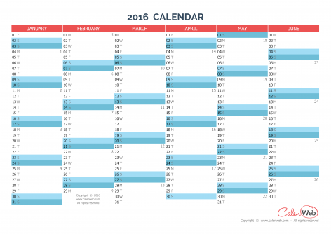 Semiannual calendar - Year 2016 Semiannual horizontal planning ...