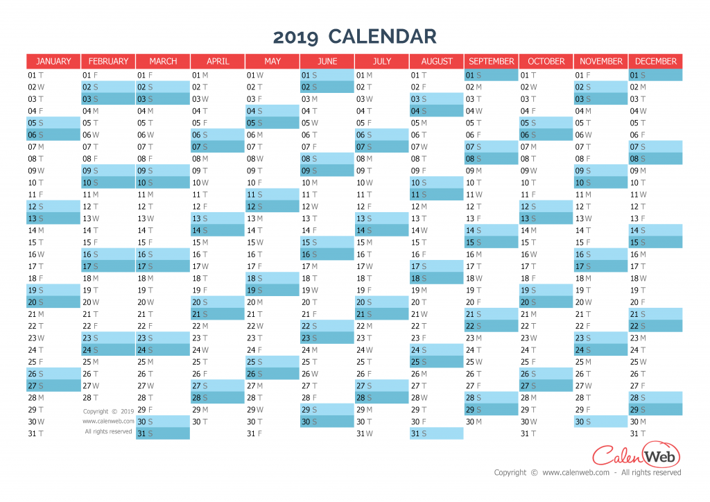 yearly calendar  u2013 year 2019 yearly horizontal planning
