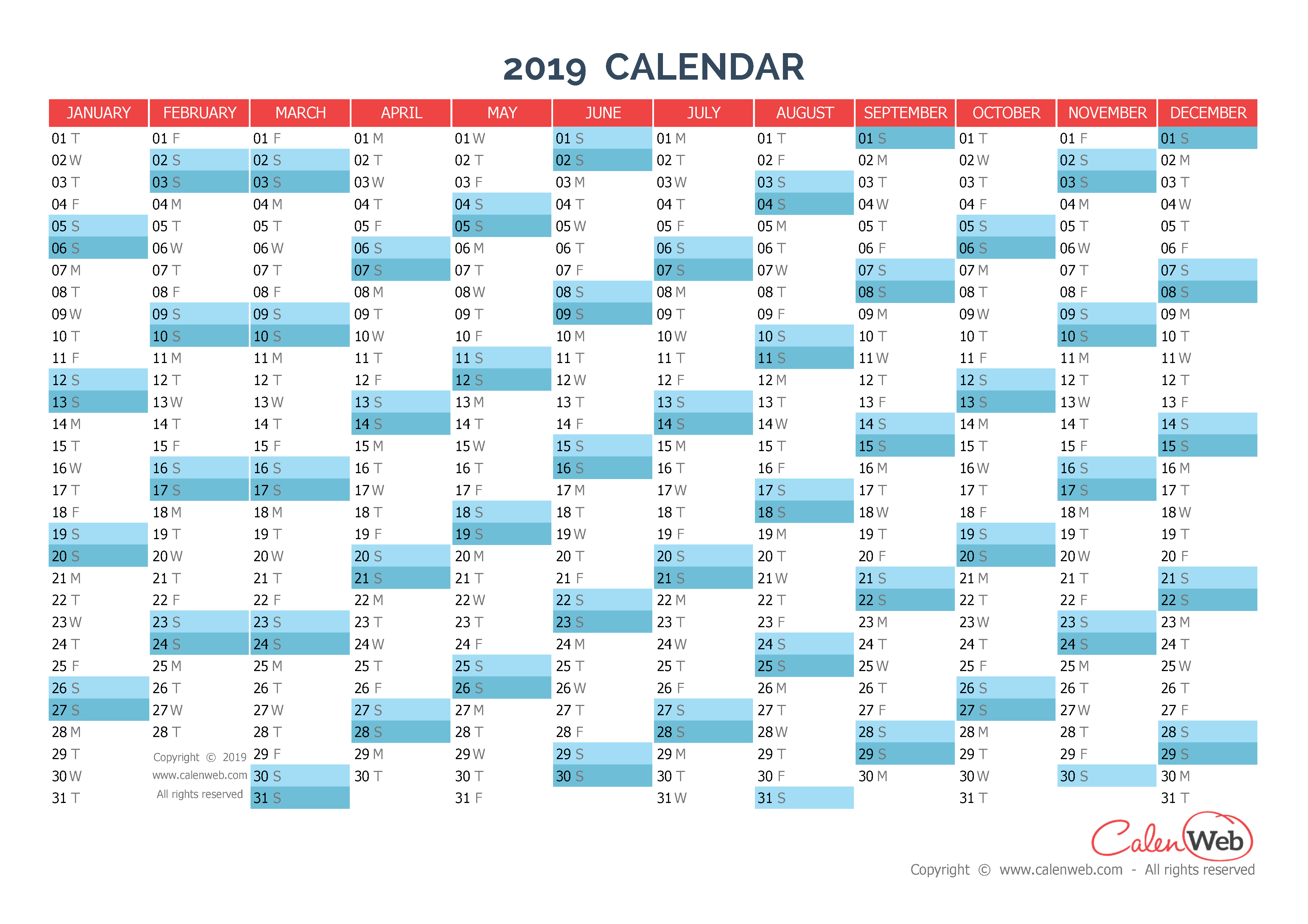 Yearly calendar – Year 2019 Yearly horizontal planning ...