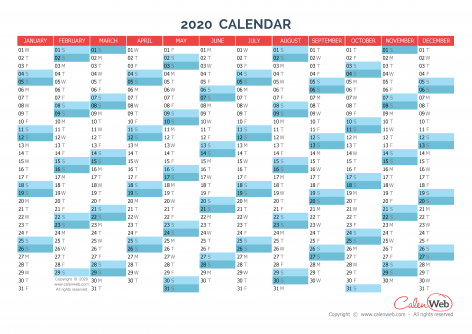 Calendar Planner 2020 Yearly calendar – Year 2020 Yearly horizontal planning   Calenweb.com