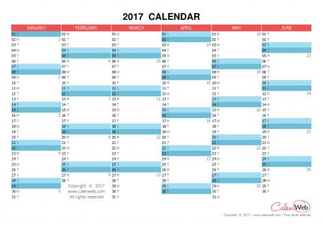 Semiannual calendar – Year 2017 Semiannual horizontal planning