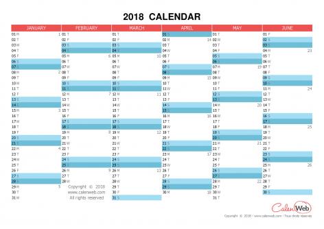 Semiannual calendar – Year 2018 Semiannual horizontal planning
