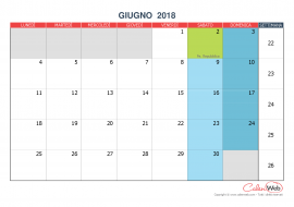 Calendario mensile – Mese di giugno 2018