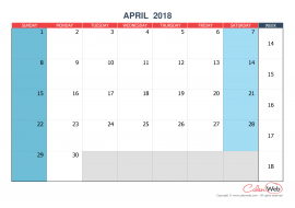Monthly calendar – Month of April 2018