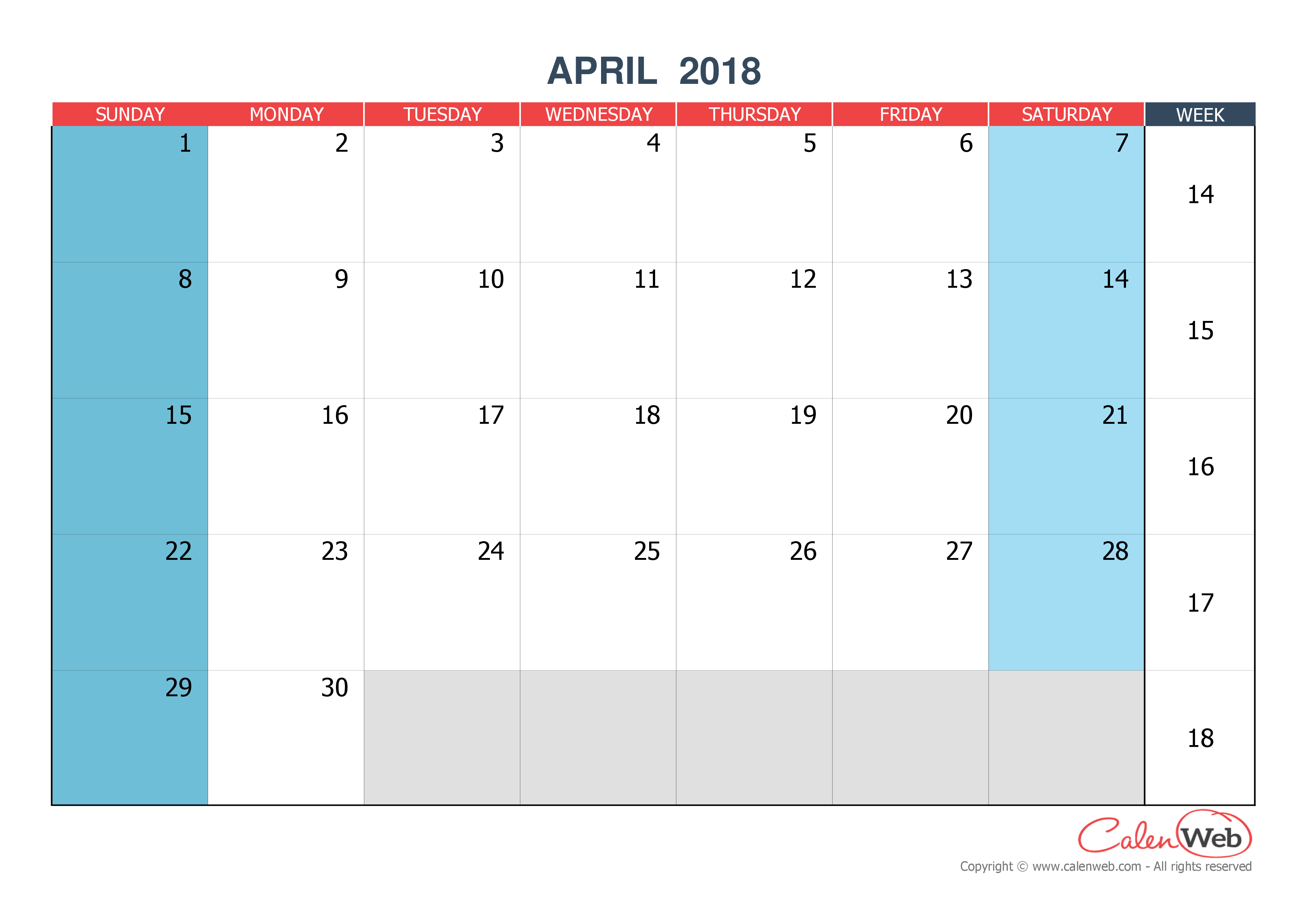 Monthly calendar - Month of April 2018 The week starts on ...