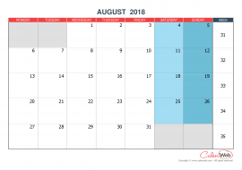 Monthly calendar – Month of August 2018