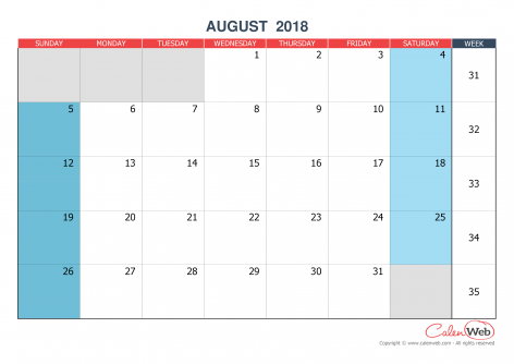 Monthly calendar – Month of August 2018 The week starts on Sunday