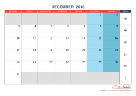 Monthly calendar – Month of December 2018