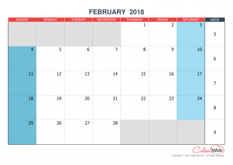 Monthly calendar – Month of February 2018 The week starts on Sunday