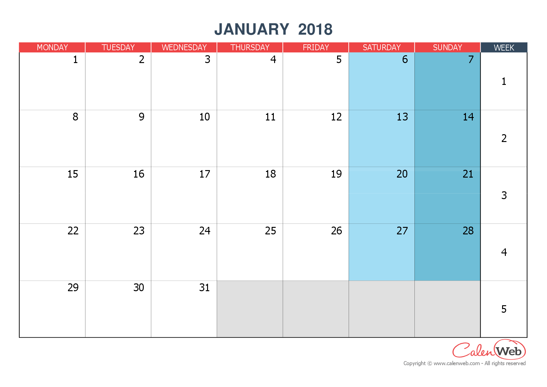 Monthly calendar - Month of January 2018 The week starts ...