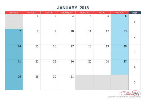 2018 monthly customizable calendar The week starts on Sunday