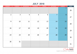 Monthly calendar – Month of July 2018