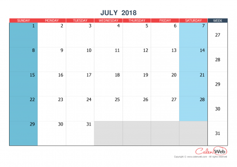 Monthly calendar – Month of July 2018 The week starts on Sunday