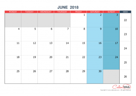 Monthly calendar – Month of June 2018 The week starts on Monday